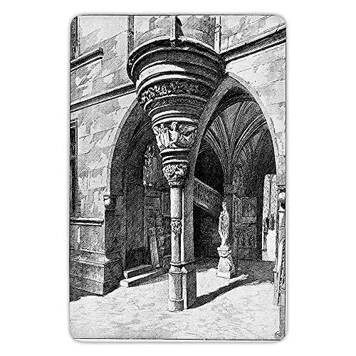 RAINNY Bathroom Bath Rug Kitchen Floor Mat Carpet,Gothic,Old Sketch of Antique Medieval European Arch in Paris Culture Heritage Vintage Art,Black White,Flannel Microfiber Non-Slip Soft Absorbent -