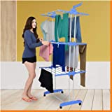 Magna Homewares Heavy Duty Steel ABS Plastic Grandis Plus 6 Racks Double Poles Cloth Drying Stand with Cloth Hangers