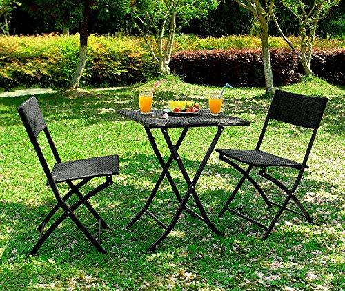 Outsunny Set Mobili da Giardino in Poly Rattan 3pz Set Tavolo e 2 Sedie da Giardino Pieghevole Nero
