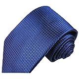 Paul Malone Royal blau karierte XL Krawatte 100% Seidenkrawatte (Überlänge 165cm)