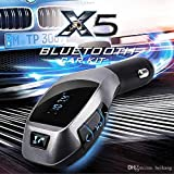 Bluetooth Car Kit MP3 Player Wireless Bluetooth FM Transmitter Radio Adapter Car Charger With USB SD Card Reader And Handsfree Calling Remote Control , Perfect For Apple, Samsung, HTC, LG Or Other Smartphones & Tabs (X5 Black)