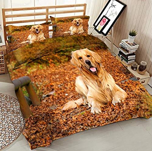 BEDSETAAA 3D Bettwäsche Set Cute Golden Retriever Schlafzimmer Enthält Gesteppte Kissenbezug, 150X200Cm -