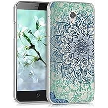"kwmobile Funda para ZTE Blade V7 (5.2"") - Case para móvil en TPU silicona - Cover trasero Diseño flores ornamentales en azul verde transparente"