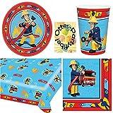 Feuerwehrmann Sam Party-Set Teller Becher Servietten Tischdecke 37 Teile für 8 Kinder