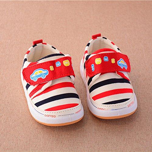 Infant Baby Girls Stripe Crib Schuhe Soft Sole Anti-Rutsch Sneakers Geeignet für 0 bis 3 Jahre alt kingko Red