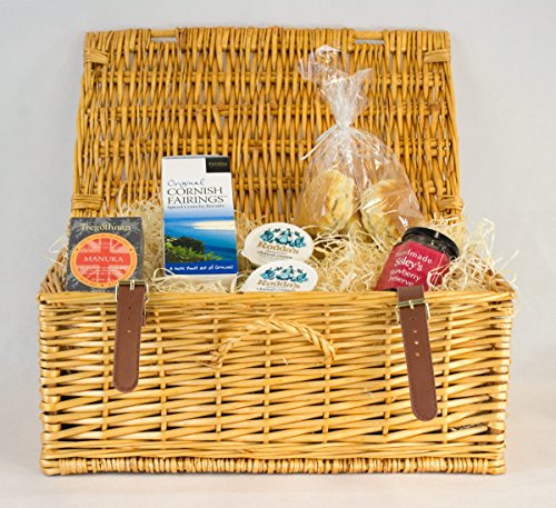 Cornish Cream Tea Hamper With Manuka Tea In A Wicker Hamper