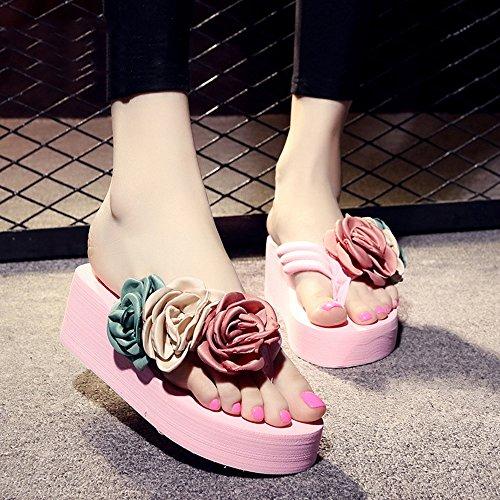 Estate Sandali 5.5cm I pistoni freddi antiscivolo (nero, beige, marrone, blu scuro, azzurro, rosa, bianco) Colore / formato facoltativo Rosa