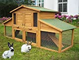WOLTU® Kaninchenstall Hasenstall Kleintierstall aus massivem Kiefernholz wetterfest 2 Stocke Hasenkäfig Stall HT2004