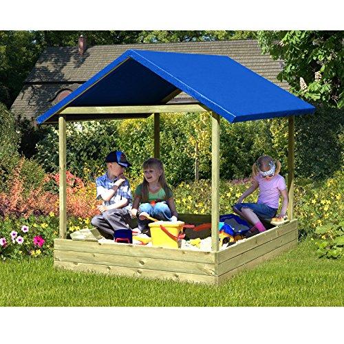 Gartenpirat Sandkasten Sophie 153x153 cm mit blauem Dach