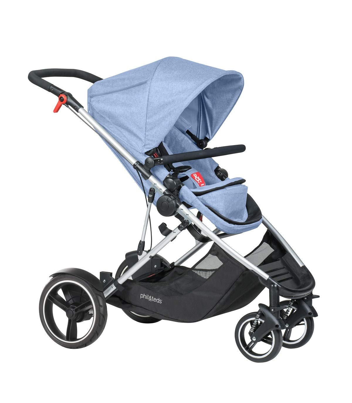 phil&teds Voyager Buggy Pushchair, Blue phil&teds 4-in-1 modular seat with four modes: parent facing, forward facing, lay flat bassinet (on buggy) and free standing bassinet (off buggy) Revolutionary stand fold with 2 seats on Double kit easily converts to lie flat mode as well 1