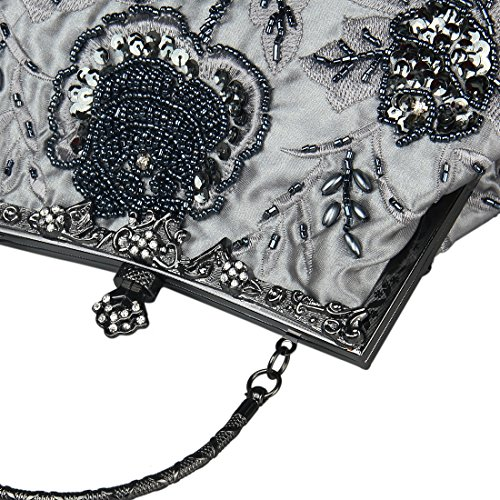 Ecosusi Vintage Seed rilievo Rose Wedding Bag frizione del partito di promenade di sera Grigio