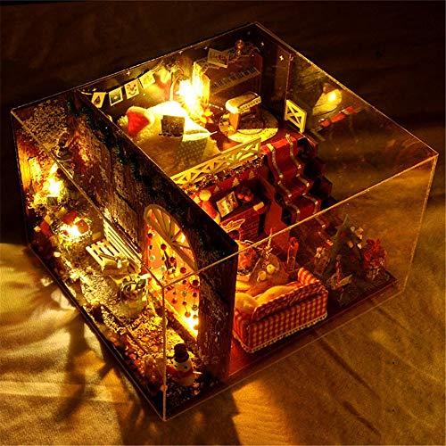 Miniaturhaus für Puppenhäuser, Maison d'arbre bricolage manuel d'assemblage manuel de nuit de carnaval miniature Kits d'artisanat en serre 3d pour adultes - Maison de poupées en bois avec meubles et a
