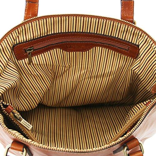 Tuscany Leather Olga - Borsa shopping in pelle - Misura Grande - TL141484 (Testa di Moro) Testa di Moro