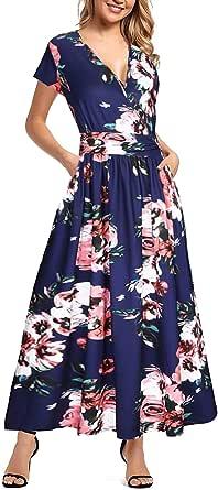 Xinlong Vestiti Donna Lunghi Estivi Manica Corta Scollo a V Stampa Floreale Abito Vestito da Spiaggia Cerimonia Sera Abiti con Tasche
