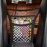 Semoss 2 Stuftig Auto Organizer Rücksitz Netz Tasche Halter Kofferraum Netz Speicher verdickte Netztasche Laeutel Handy Kind Spielzeugdung Netz Schwarz mit 4 Haken
