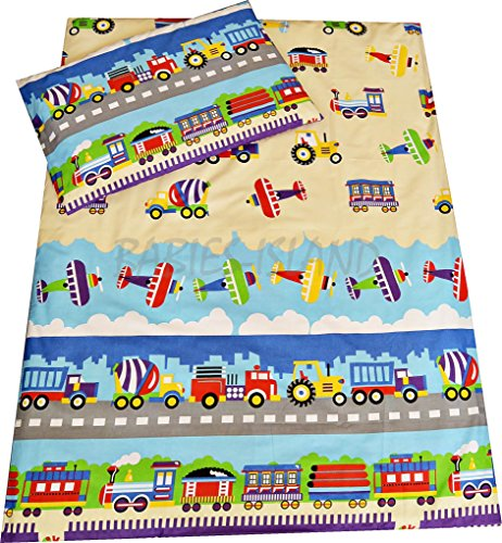 Babies-Island A 2 Piece Bedding Set Pillowcase+Duvet Cover For Baby Toddler To Fit Cot/Cot Bed - TRUCKS, PLANES, TRAINS (Size 120x150 cm)