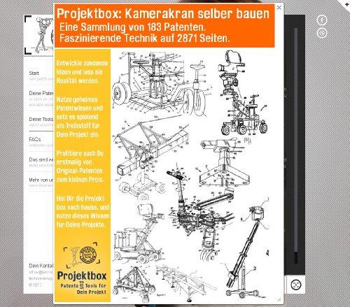 Kamerakran, Kamera Dolly selber bauen. 183 Patente zeigen wie es geht! Patent Dolly