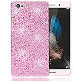 NALIA Handyhülle für Huawei P8 Lite, Glitzer Slim Hard-Case Back-Cover Hülle Schutzhülle, Handy-Tasche im Glitter Sparkle Design, Dünnes Bling Strass Etui Skin für P 8 Lite Smart-Phone - Pink Hell