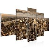Bilder New York City Wandbild 200 x 100 cm Vlies - Leinwand Bild XXL Format Wandbilder Wohnzimmer Wohnung Deko Kunstdrucke Braun 5 Teilig -100% MADE IN GERMANY - Fertig zum Aufhängen 600451b