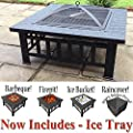 RayGar 3 in 1 Square Fire Pit BBQ Ice Pit Patio Heater Stove Brazier Metal Outdoor Garden Firepit + Protective Cover (Now Includes Ice Tray) FP39 - New by RayGar