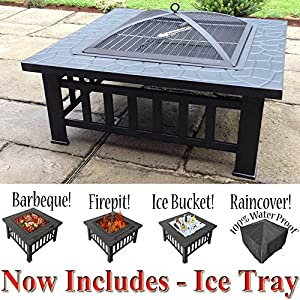 61aUOh16v1L. SS300  - RayGar 3 in 1 Square Fire Pit BBQ Ice Pit Patio Heater Stove Brazier Metal Outdoor Garden Firepit + Protective Cover (Now Includes Ice Tray) FP39 - New