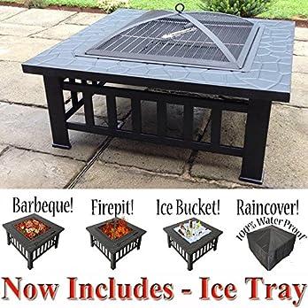 Raygar Quadratisches 3 In 1 Produkt Feuerstelle Grill Eisschale Aus Metall Geeignet Als Terrassenstrahler Inklusive Schutzabdeckung Jetzt Inkl Eis Tablett Fp39