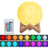 Lámpara Luna 3D,Tomshine 15cm Lámpara Mesilla de Noche,16 Colores y 4 Modos de Lluminación,Brillo Regulable Recargable USB,Co