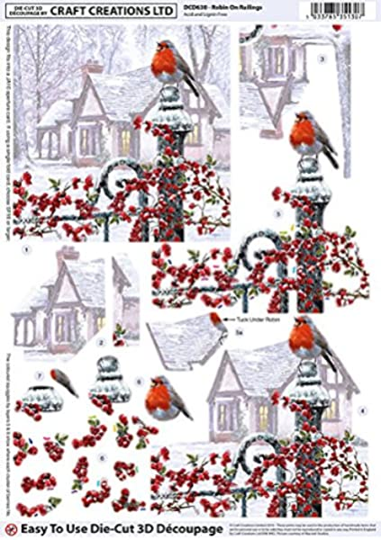 Christmas Robin 3D Decoupage Sheet Card Making Crafts *CUTTING REQUIRED*