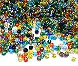 Rocailles Perlen 4mm NUR Silbereinzug Glasperlen Perlenmischung 6/0 Bunte Mix Set Kugel Rund Mini Perlen Tiere Indianerperlen für die Konfektion von Schmuck DIY Armband Halskette Ohrring Zubehör Basteln (450g)