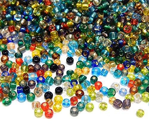 Rocailles Perlen 4mm NUR Silbereinzug Glasperlen Perlenmischung 6/0 Bunte Mix Set Kugel Rund Mini Perlen Tiere Indianerperlen für die Konfektion von Schmuck DIY Basteln (450g)