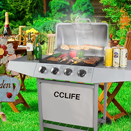 CCLIFE Carro Barbacoa de Gas Parrilla Barbacoa Gas con 3/4/5/6 quemadores BBQ, Color:Silver, Tamaño:4 Quemador