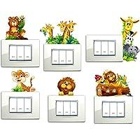 Adesivi Murali Adesivi da Parete Camera da letto per Bambini Decorazioni Parete 6 PEZZI Giraffe Orsetto Leone Elefantino…