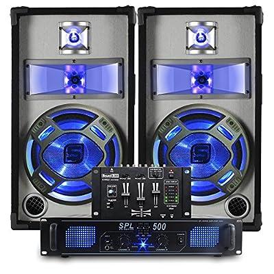 2x Skytec 10 Inch Black/White Speakers + Compact Mixer + Power Amp 800W