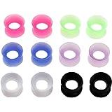 JSDDE, 12piercing colorati in silicone dilatatori per orecchio con bordo alto flessibile, punk