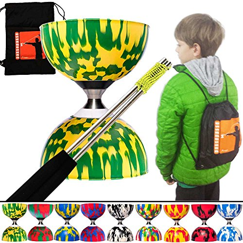PassePasse Diabolo roulement à bille en Caoutchouc-Diabolo Triple Roulement-de 5 ans à 12 ans-avec baguettes en Aluminium et Sac a dos (Vert et Jaune)