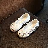 XYJHER Baby Kids Girls sandali antiscivolo, scarpe per bambini scarpe, scarpe da bambini, ricamato a mano, Cattle tendine fondo stile folk, 029 white, 36 code/22.3cm