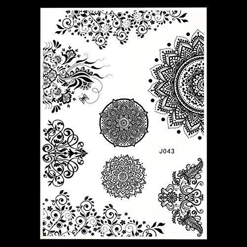 MANDALA HENNA NOIR tatouages temporaires au henné Henna pour le corps bj043