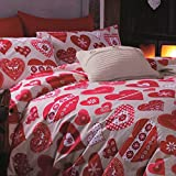 Catherine Lansfield Hearts - Juego de sábanas + bajera, para cama de 150 cm