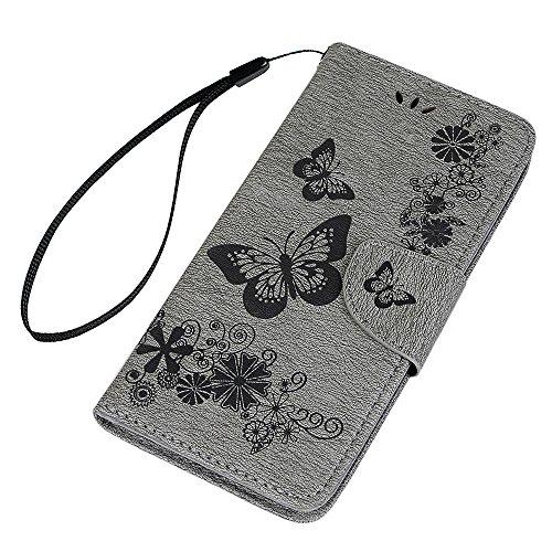 Lanveni Handyhülle für iPhone X,iPhone 10,Flip Case Cover PU Lederhülle Schutzhülle Magnetverschluss Ledertasche mit Stander Function Brieftasche Card Slot Handy Tasche mit Schmetterling Geprägt Desig Grau