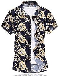 Para hombre Hawaiian Floral Manga Corta Camisas–Vacaciones de natación tops con forro de malla