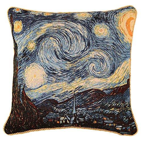 Designer Taie d'Oreiller 45x45cm de Signare - Tapisserie Pour Lit Chaise Siège Salon - Van Gogh/Starry night CCOV-ART-VANGOGH-1
