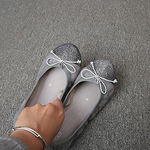 &qq Chaussures, arc, pied doux confortable, chaussures de danse de ballet, chaussures plates 41
