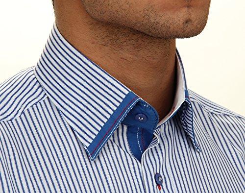 Silm Fit Freizeithemd in blau/weiss gestreift, für Herren BESTE QUALITÄT, HK Mandel Slim Fit Langarm Freizeithemd, 20901 Blau/weiss gestreift