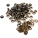 Antiek messing brons zwart goud ronde oogjes grommets voor kleding lederwerk canvas banners (8mm 100sets)