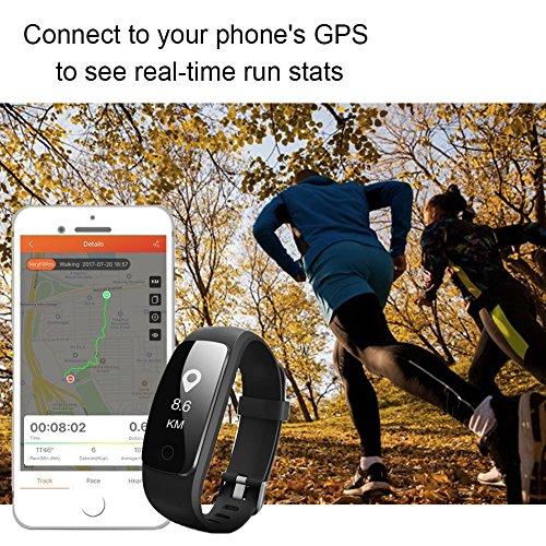 Fitness Armband-MUXI Herzfrequenz Pulsuhr SmartWatch laufuhr Aktivitätstracker,Stoppuhr,Wasserdicht,Schrittzähler,Wecker,Kalorienzähler Gesundheits-Schlaf-Monitor Pedometer Wettervorhersage Call Nachricht Reminder für IOS und Android (USB Anschluss direkt laden) -