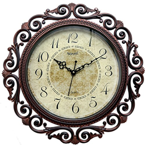Steven Quartz Round Wall Clock Antique Brown- Size 16 inch X 16...