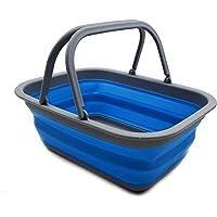 SAMMART 9,2 l Faltbare Wanne mit Griff – tragbarer Picknickkorb für den Außenbereich – Faltbare Einkaufstasche…