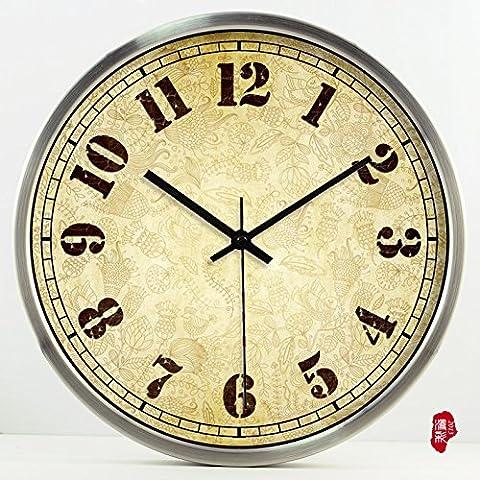 nllpjmf casa e cucina orologi orologio da parete, Silver Bezel, 40,5 cm - Gold Diamond Bezel Orologio