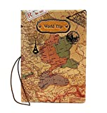Di Grazia Brown Colour Waterproof Passport Holder, Passport Protective Case (Brown-Map-Passport-Cover)