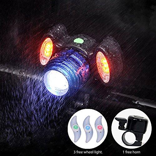 Blinkle Fahrrad Licht USB Wiederaufladbare Mountain Fahrradlicht 360° Verstellbar mit 3LED-Beide Rot und Weiß Wasserdicht und Bike Horn für Road Fahrräder (mit Horn und 3Pcs Whell Licht)